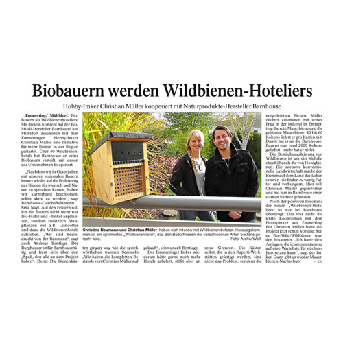 Biobauern werden Wildbienen-Hoteliers
